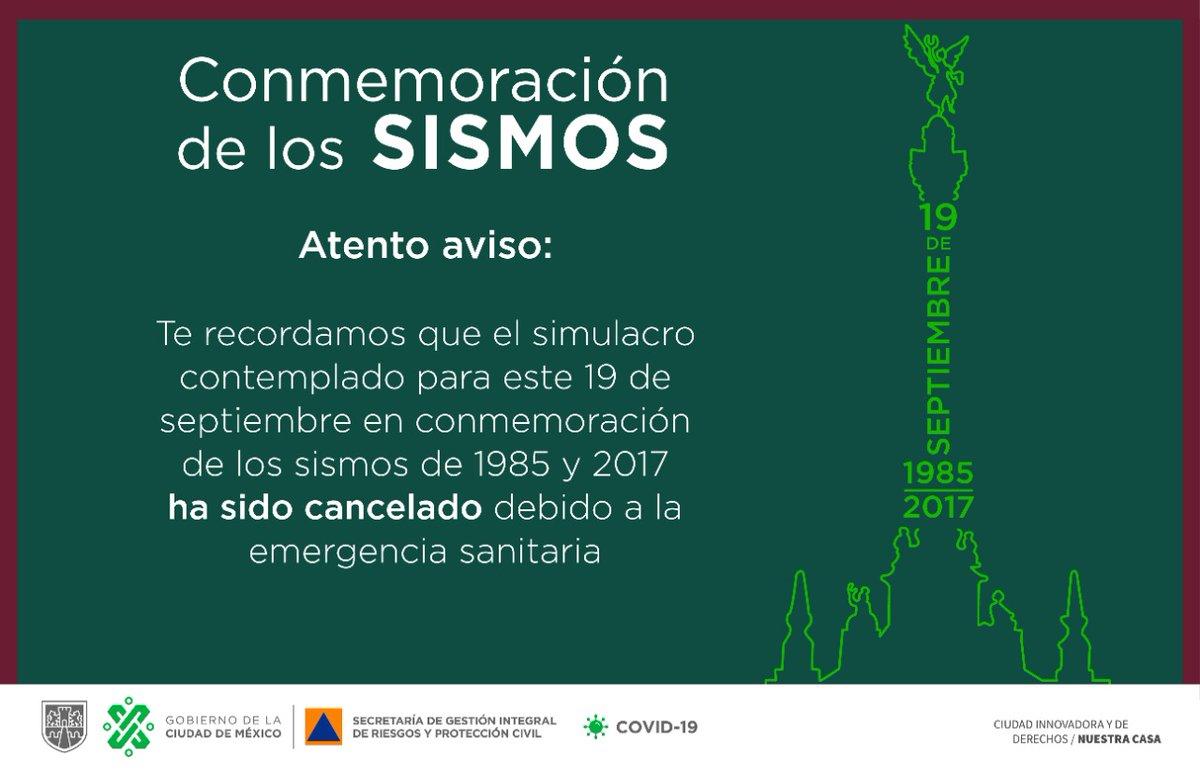 AVISO IMPORTANTE Recuerda que debido a la contingencia sanitaria, el @GobCDMX y la @CNPC_MX  acordamos cancelar el #Macrosimulacro.  La alerta sísmica no se activará, a menos que se presente un evento real.  #TrabajandoJuntos por una #CiudadPreparada #LaPrevenciónEsNuestraFuerza https://t.co/ZF8sMTGnLj