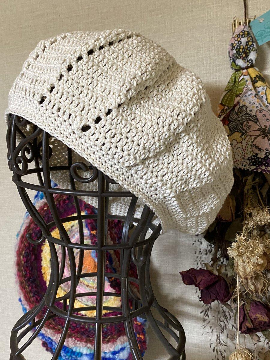 test ツイッターメディア - コットン糸でベレー帽💖✨  生成でシンプルに( ・ㅂ・)و ̑̑  #セリア #コットン糸 #crochet #たわしママ https://t.co/2gi7R3qEky