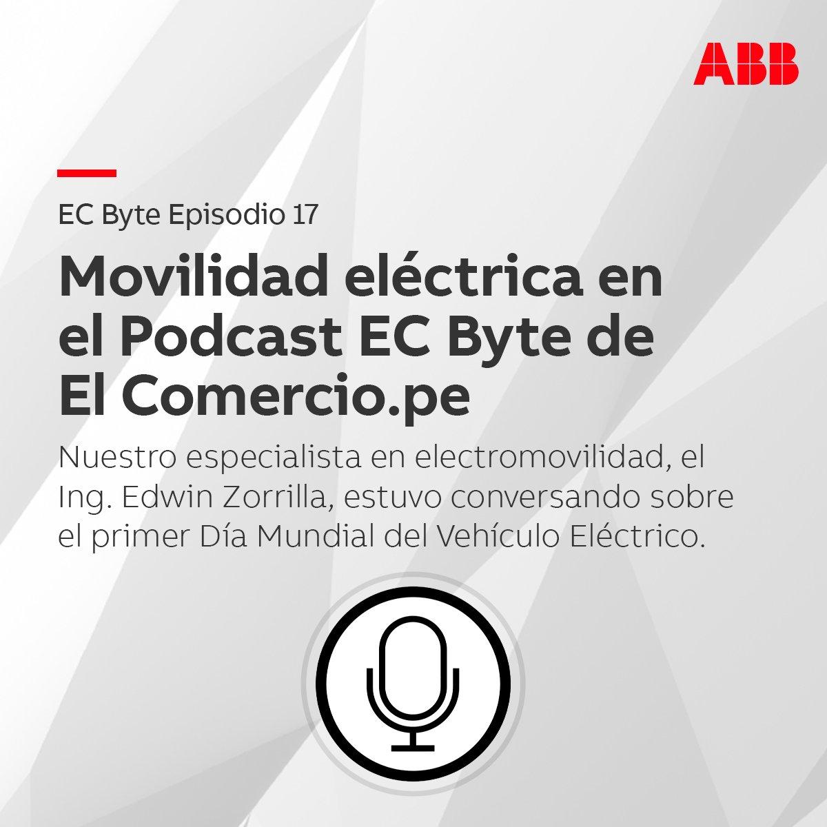 Entérate más sobre movilidad eléctrica en el Podcast EC BYTE de El Comercio El Ing. Edwin Zorrilla, Sales Manager en #Electrification de #ABB en Perú, habló sobre el Día del Auto Eléctrico. Entérate más aquí: https://t.co/TB5XE1BkSj #Energía #EV #Autos #Tecnología #Eléctrica https://t.co/ydndCuCq1s