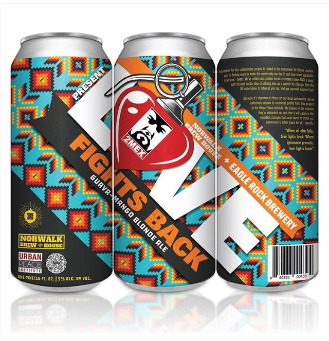 Love Fights Back - A collab between @eaglerockbrew + @NorwalkBrew & legendary LA Hip Hop artist 2Mex. Proceeds to benefit @UrbanPeaceInst's work to end systemic racism. Available early Oct @ Eagle Rock Brewery + select retailers. Exclusive content accessible via QR code on can 🍻 https://t.co/GRG03ovRh4