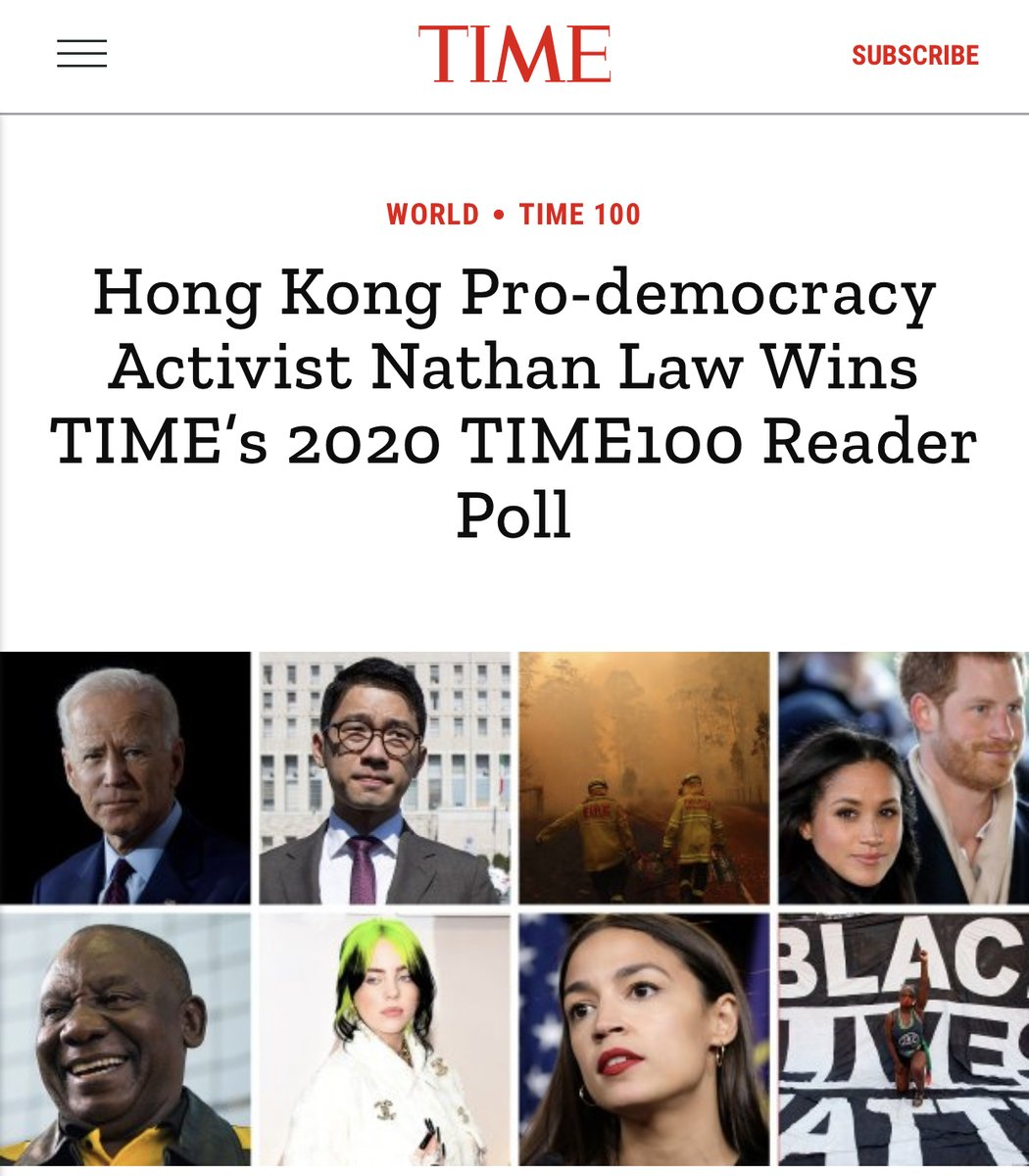 THREAD: 1. Thank you very much for all your support. It is my pleasure to gain the highest votes in the Time 100 Reader Poll this year. The result shows Hongkongers' relentless passion for this city and our unwavering spirit of resistance. https://t.co/37sqRgFTNW