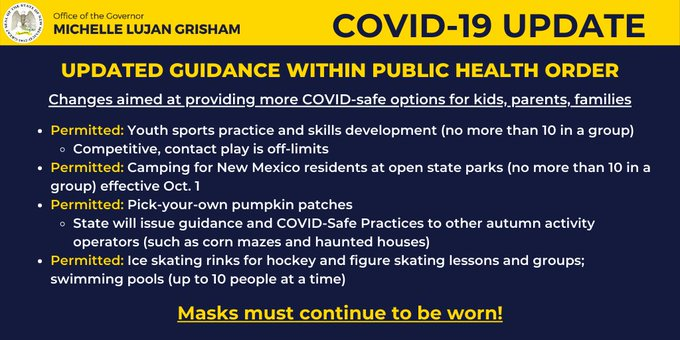 An updated public health order is in effect through mid-October. 😷 Face coverings are still required in all public spaces – masks make a difference! https://t.co/34Pr8PWSAA #NMEcon #NMMainStreet #AllTogetherNM https://t.co/AO7W2NTNDK