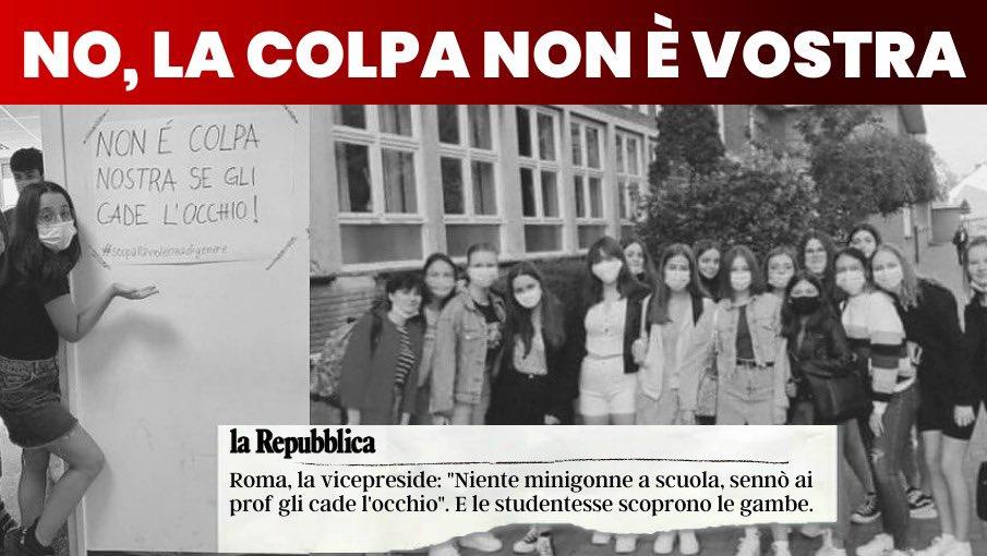 """A Roma la vicepreside di un istituto ha invitato le studentesse a non mettere la minigonna, sennò """"ai prof cade l'occhio"""". Come fa a saperlo? È già successo? Il giorno dopo erano tutte in minigonna. La risposta più intelligente ad una raccomandazione offensiva. @giuditta_pini https://t.co/9WuA6wzIOB"""