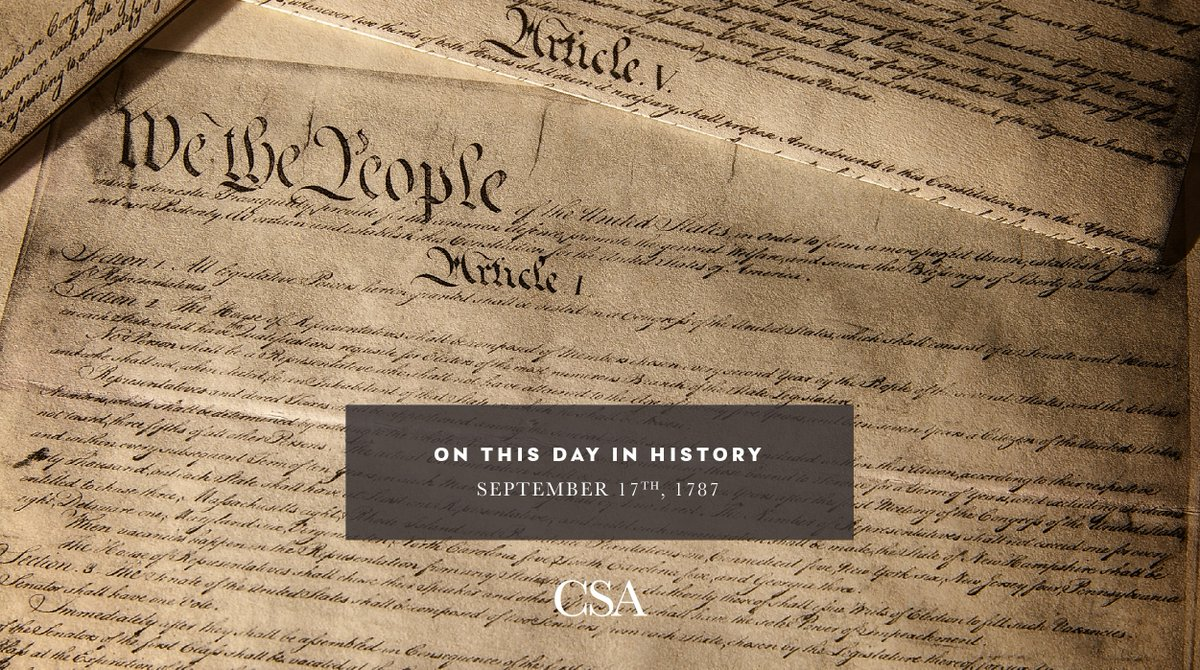 On this day 233 years ago, delegates from twelve states voted unanimously to approve the proposed U.S. #Constitution. To this day, the Constitution continues to be the pillar on which our entire #democracy rests! #CSA #ThisDayinHistory https://t.co/VXhAEcGOrQ