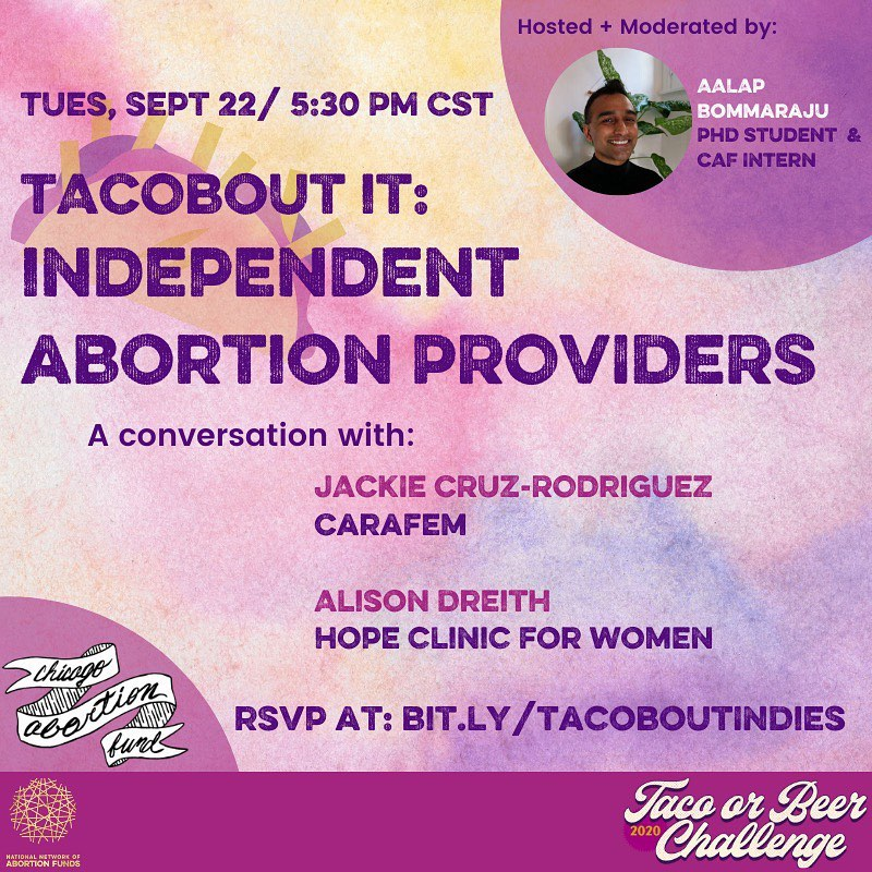 We're so excited that our own Jackie Cruz-Rodriguez will be joining @ChiAbortionFund's virtual Tacobout It series on #TacoTuesday, September 22nd! Grab a 🌮 or 🍺(or both 🤤) and click the link in our bio to register🍻 #ToBC2020 https://t.co/ePRijXlFb9