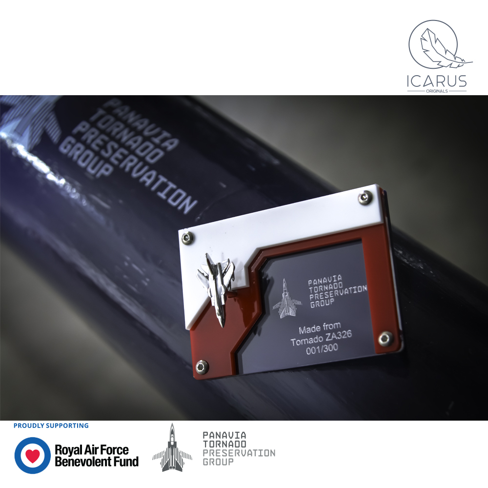 Our partners Icarus Originals have teamed up with the Panavia Tornado Preservation Group to launch new products made from the original airframe aluminium of the worlds only Tornado GR.1P aircraft. A portion of the profits will be donated to the Fund 👉 fal.cn/3apNh