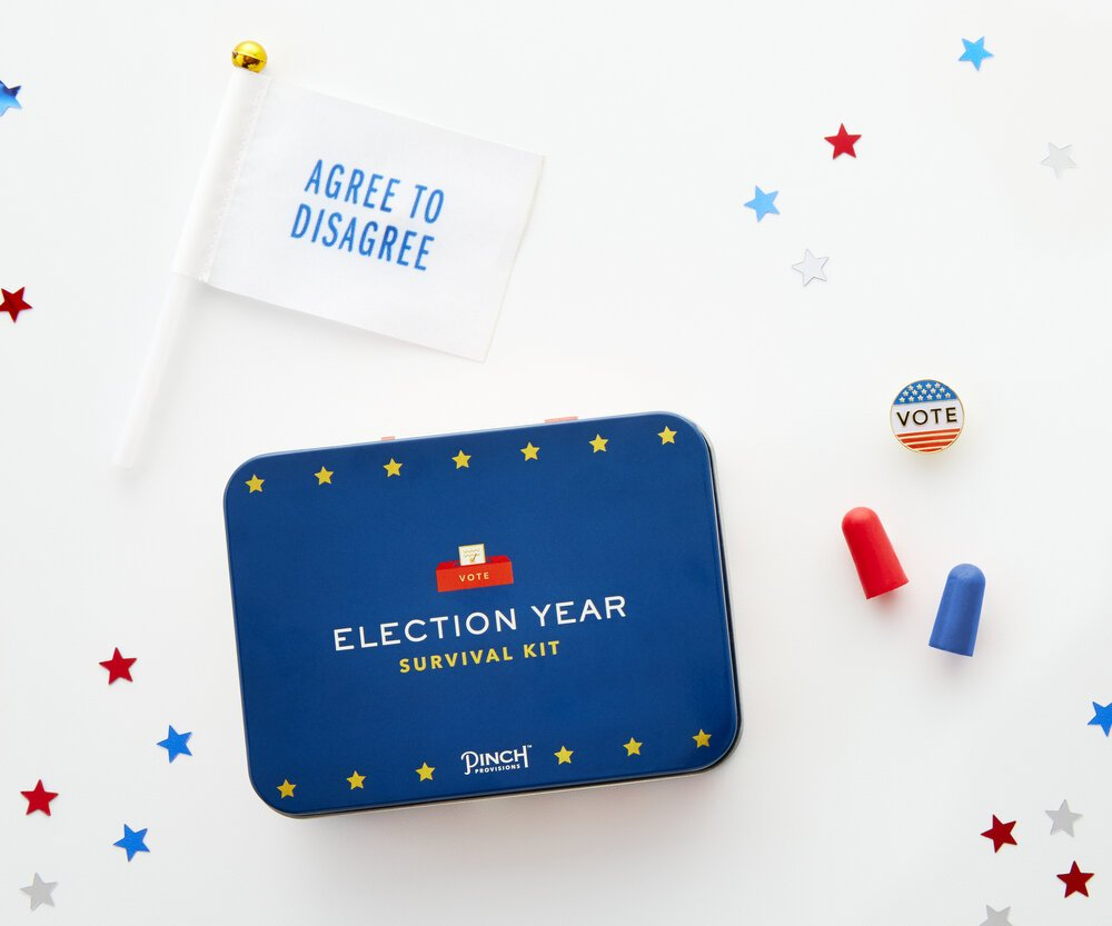 46 Days to Go! Be prepared for Election Day with your very own Election Survival Kit, patriotic sunglasses and Hindsight 2020 socks! For more details and to shop these items, visit anunlikelystory.com/new-arrivals.