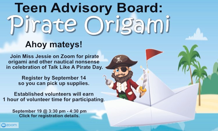 Calling all Sussex County NJ teens: Join us (virtually) on Saturday for Pirate Origami Register before Saturday to get the program details: https://t.co/mIOnhe6odq #TalkLikeAPirate #teenadvisoryboard #libraries https://t.co/9qJacZVERo