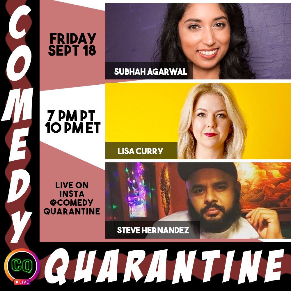 Closing out the week with some #ChatterboxComedy favs on #ComedyQuarantine! @BigHern @lisa_curry & @Subhah, hosted by @dominique_gelin!!!   7p PT / 10p ET on IG Live at https://t.co/LptKFYpPJD  $10 suggested donation to pay our comics: https://t.co/lKchgWHNC6 https://t.co/sLaUSkW9Ed