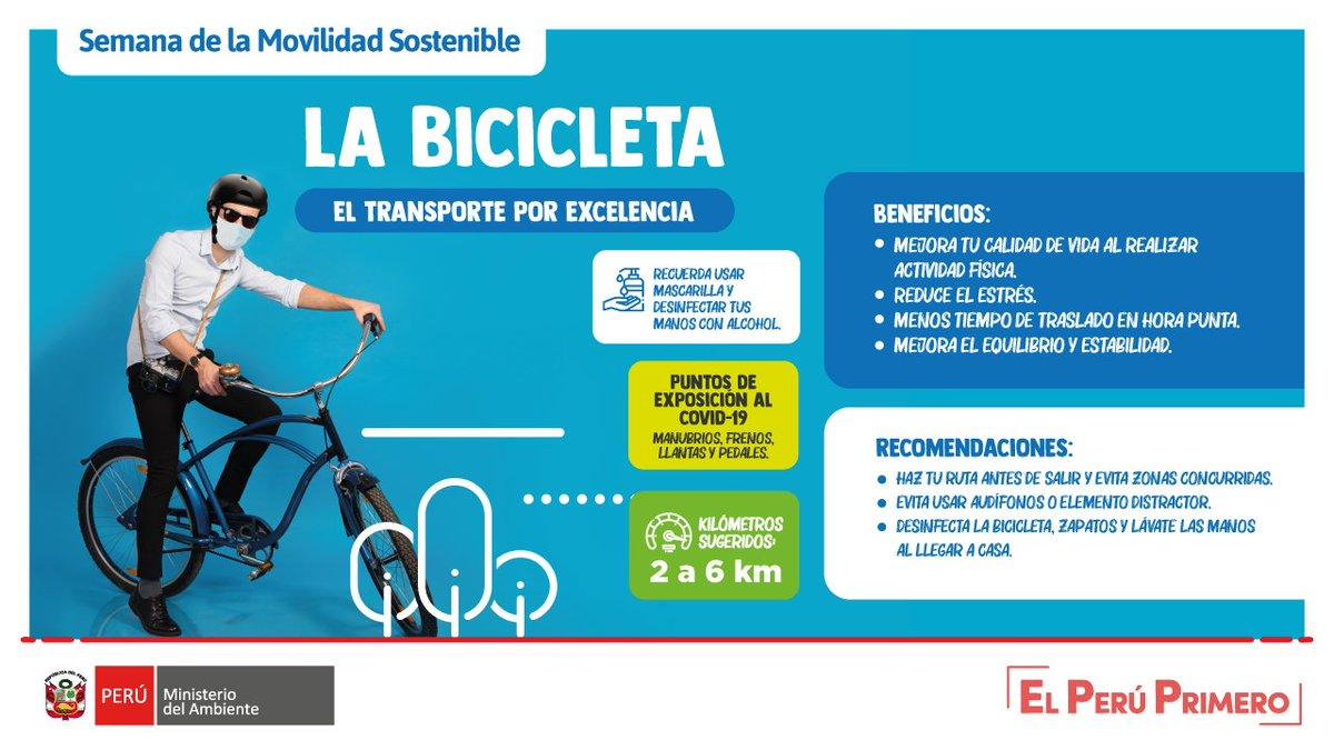 📢 #SemanaDeLaMovilidad | ¿#SabíasQue cuando te desplazas en bicicleta 🚴🏼♂️promueves el distanciamiento físico? Sí, disminuye el riesgo de contagio de #covid-19. #PerúLimpio #ElPerúPrimero https://t.co/tvK0ZBPTxx