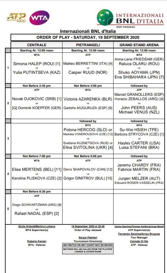 | Masters 1000 de Roma | Partidos de mañana #IBI20 #tennis #wta #atp https://t.co/Z7MJNrsJz1