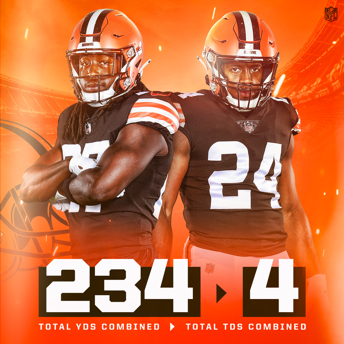 Big prime-time performance from the @Browns rushing duo. #Browns @NickChubb21 | @Kareemhunt7