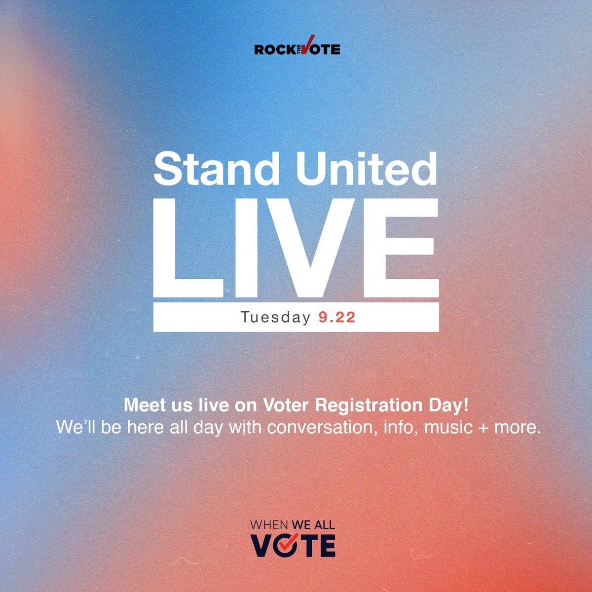 #StandUnited Instagram LIVE on Tuesday, Sept 22nd, we'll be sharing the (digital) stage in celebration of #NationalVoterRegistrationDay featuring:  12PM ET/9AM PT: Amber Cabral  3PM ET/12PM PT: @YNB + @JeromeFosterII with @WhenWeAllVote  8PM ET/5PM PT: @iamjojo with @RockTheVote https://t.co/BA9dkxolFd