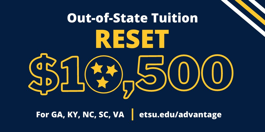 Just approved! Our Board of Trustees has approved a $15,000 drop in out-of-state tuition for incoming students from NC, SC, VA, GA, and KY! Students from those states can expect to pay $10,500 in tuition per year! For more information visit https://t.co/e0f4svNYej https://t.co/Im3WvW2lsi