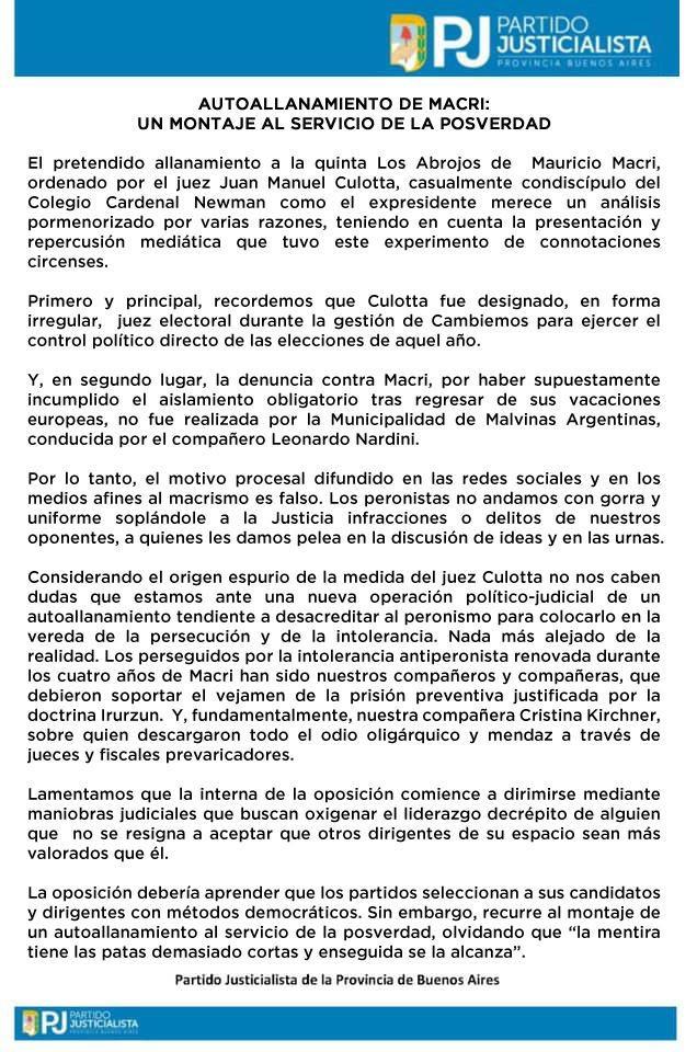 FAKE ALLANAMIENTO. Esclarecedor comunicado del Partido Justicialista de la Provincia de Buenos Aires. https://t.co/TkAnj3XYkT