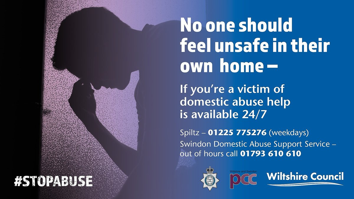If you're worried someone is suffering domestic abuse, don't delay. Call us. We're always here and ready to take your call #STOPABUSE   01225 775276 - weekdays 01793 610610 - out of hours https://t.co/T7WvHnYV4S