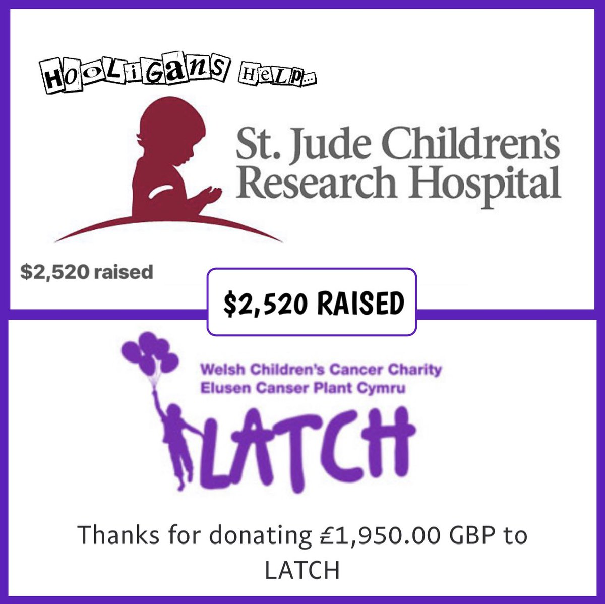 """Last month we raised $2,520 for @stjude & it was matched to @latchwales suggested to us by  @MandrewsJunior! You Hooligans are truly amazing!   Make sure you head to the link in the below & donate to """"Hooligans Help the JDRF!"""" to keep changing the world!  https://t.co/lgk8bsjuwK https://t.co/Wlvnn9Qw9d"""