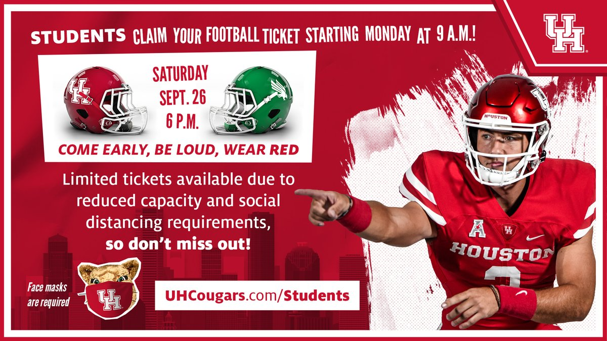 .@UHouston student ticket claiming for @UHCougarFB vs. North Texas opens tomorrow morning!   ⏰ 9 a.m. 💲 FREE REGISTER ACCOUNT ➡️ https://t.co/zLnpGnOxW0  #GoCoogs https://t.co/eQfYwrVHT8