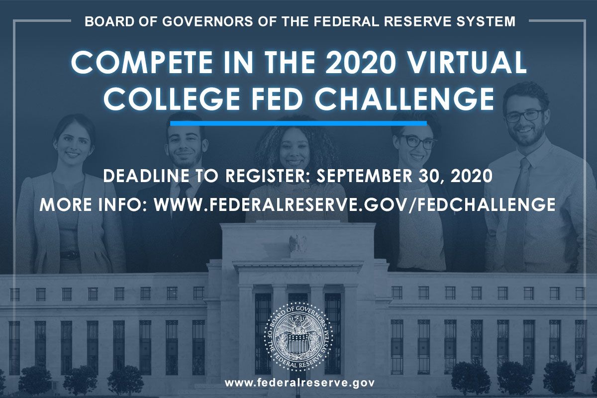 Register by September, 30: Undergraduate students from across the nation can compete in the 2020 virtual #FedChallenge.  Full rules to enter: https://t.co/LqqFQA1nIF https://t.co/aBqMFC9B0S