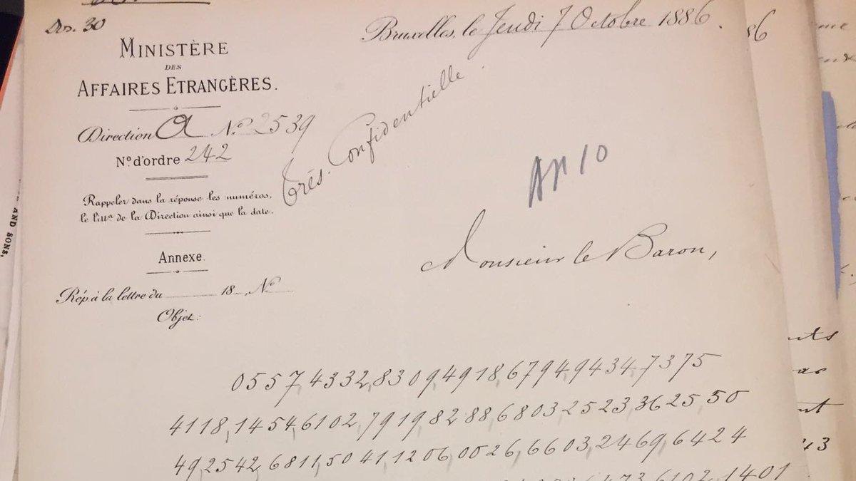 Monsieur le Baron,  [de winnende lotto cijfers zijn]  0557,4332,8409,... 🤑  🗃️AFRI(445) 707. 1884 1895, gecodeerde boodschap van Joseph de Riquet de Caraman Chimay aan Ignace Henri Stanislas Solvyns, 7 oktober 1886. https://t.co/opMjyAjMaf