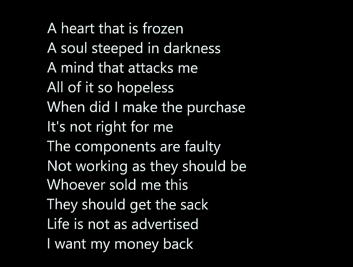 I Demand A Refund   #poetry #shortpoems #darkpoetry #micropoetry #poetsoftwitter #poetscommunity #refund #life #existence #depression #anxiety #suicidalthoughts #mentalhealth #iwrotethis #writing #writersoftwitter #writingcommunity #creative #creativewriting #creativecommunity https://t.co/H4PpzWeBaD