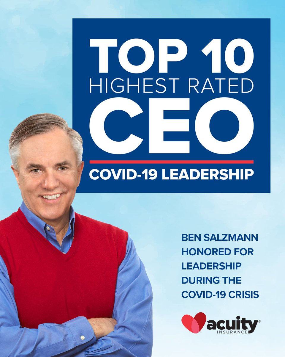 Glassdoor has ranked our CEO Ben Salzmann as a Top 10 CEO during the COVID-19 crisis. He has led the way allowing for Acuity to stay open for business for our customers and agents, while keeping our culture alive for employees.  https://t.co/jZWbpGCwkd https://t.co/AJu1K4gWZw