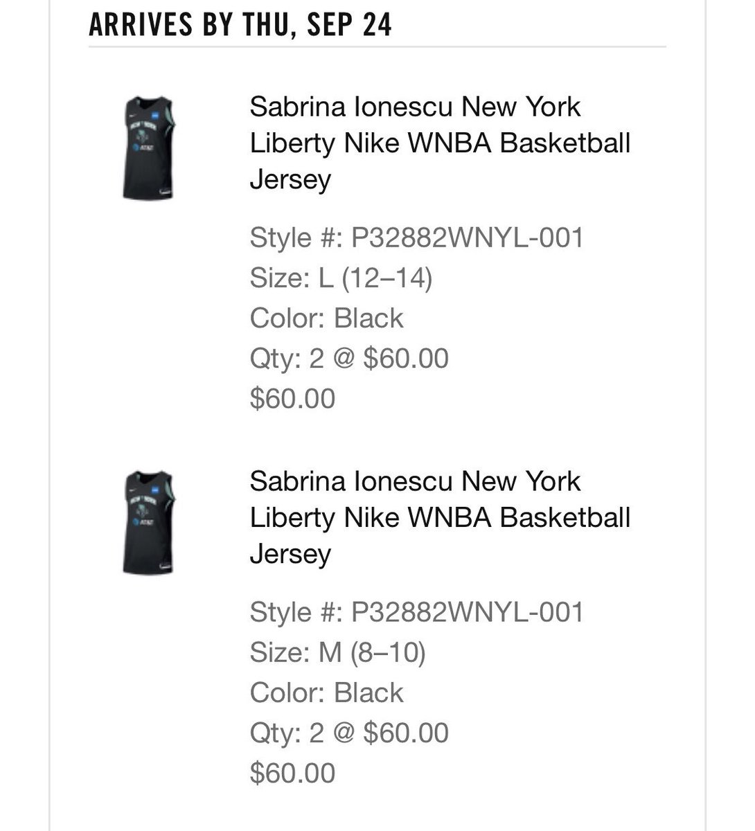 Just grabbed my @sabrina_i20 @nyliberty Jersey plus a few more  at https://t.co/Pz10WcAYZf If you are a fan hoops this is a must purchase for you and your little hoopers, make or female #franchise @NikeGirlsEYBL @NikeEYB #franchise https://t.co/T13PmQZlRj