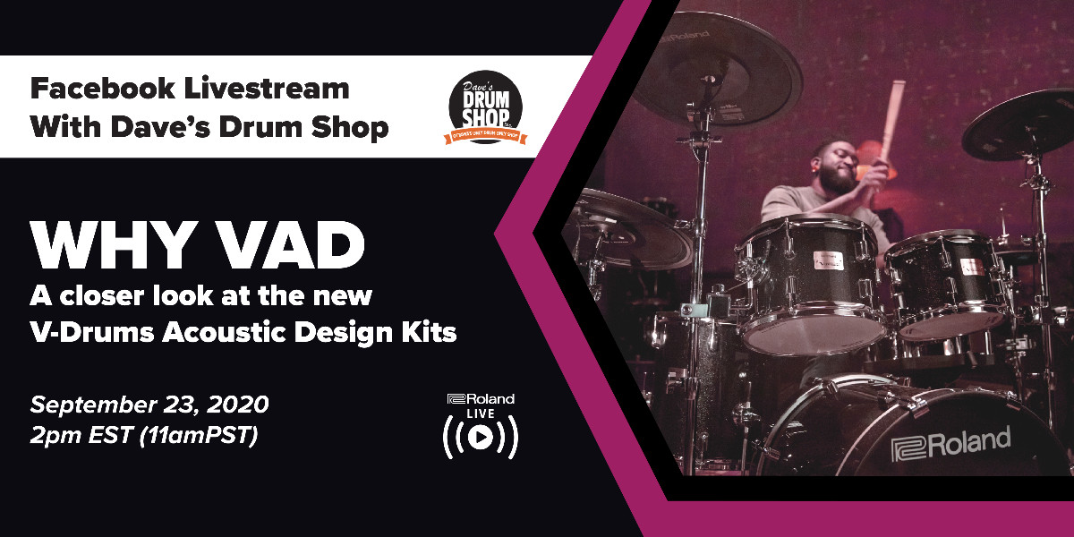 See and hear the new Roland VAD Series drumkits in action! @DavesDrumShop and Roland Canada will be going live for a demo and Q&A session on Sept. 23rd! Set your reminder: https://t.co/E230ApeSjS https://t.co/XwPpEBI9zz