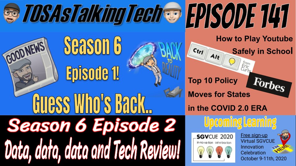 Holy Cow! A new @TosasTalkinTech Episode? I thought those guys were dead! @TechMikeBUSD and I finally got one done! We talk COVID and some tips from @ericcurts on youtube in class. PLEASE SHARE! #podcastedu #BUSDproud #wearecue https://t.co/Aq2iPsfnkM https://t.co/WuIv5ZWrCf