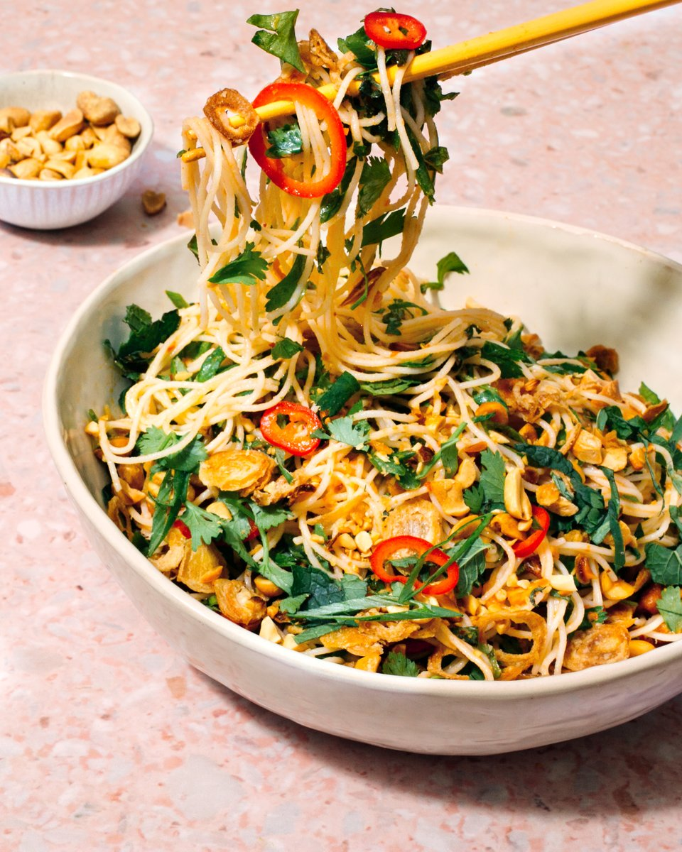 Salad can be boring. Why not try noodle salad instead? These herby, crispy shallot–topped noodles have a 1-2 flavor punch of umami-rich fish sauce & jalapeños. Try making the shallots at home—they're easy to prep & you'll have leftovers for days. Recipe: