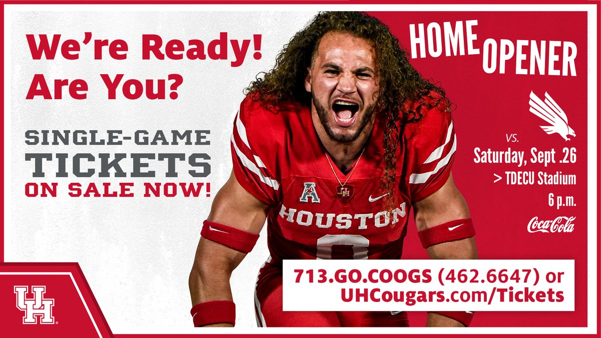 .@UHCougarFB will be 🏠 in 1 week!  See you there!    😷 Masks will be required. 🎟️ https://t.co/gSPwPJBIrj   #GoCoogs https://t.co/e9I2QROsvA