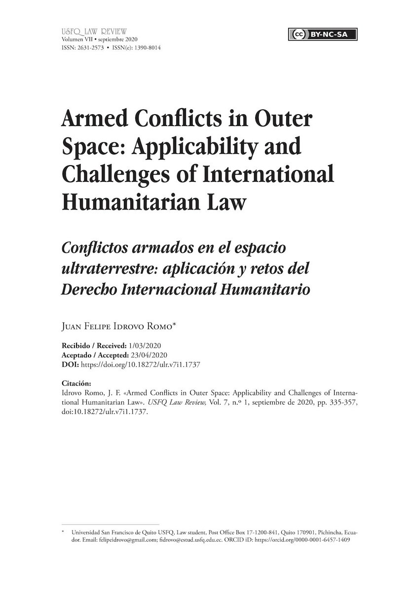 Armed Conflicts in Outer Space: Applicability and Challenges of International Humanitarian Law.  DOI: https://t.co/09ceaFzG1Y https://t.co/jnTplxISya