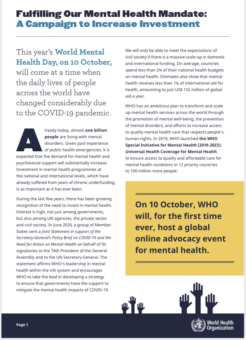 .@WHO A big event for #mentalhealth on 10 Oct 2020! A campaign to increase Investment!