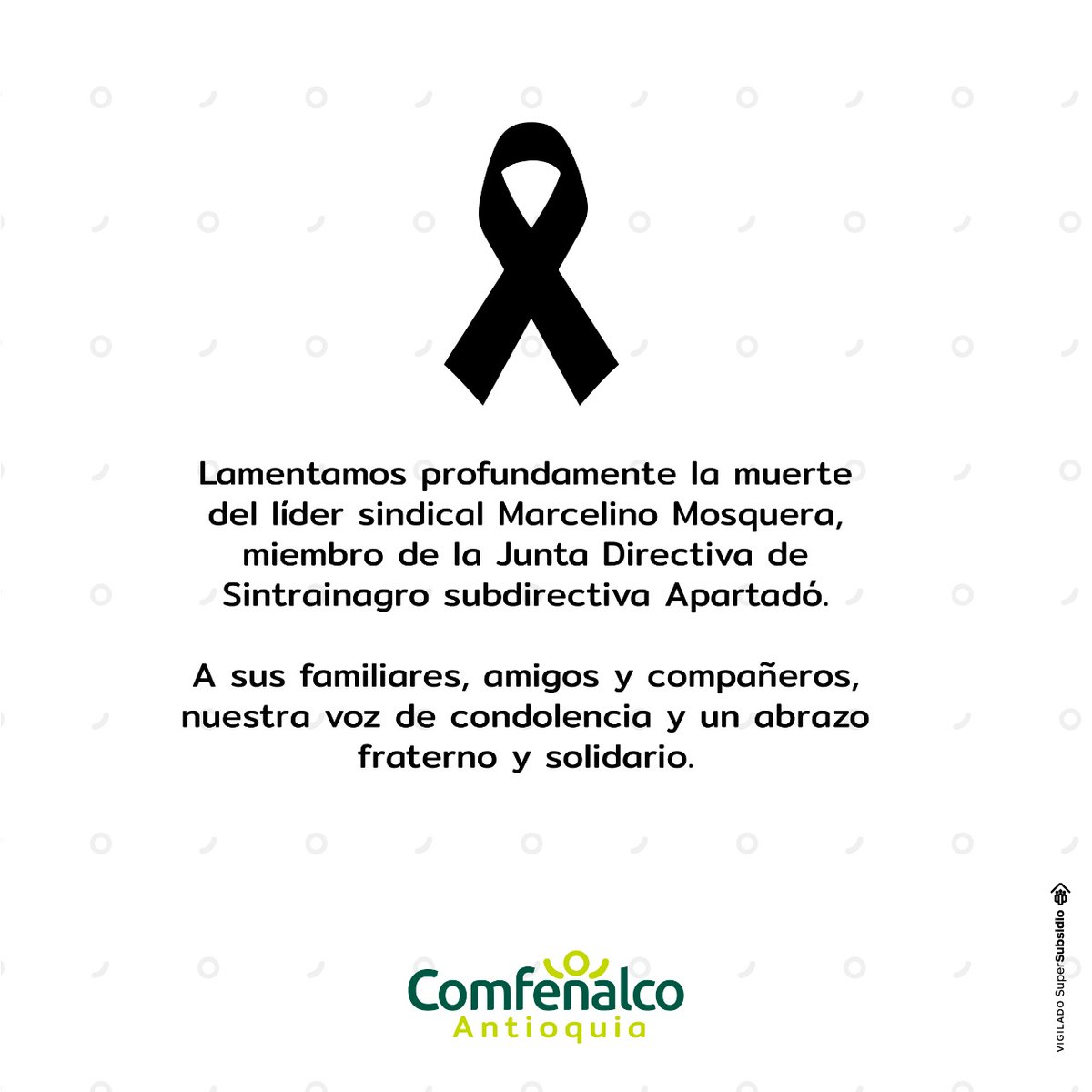Nos unimos a la familia @SintrainagroNal, desde Comfenalco Antioquia los acompañamos en este momento y les enviamos un abrazo fraterno. https://t.co/LK2JITnrdP