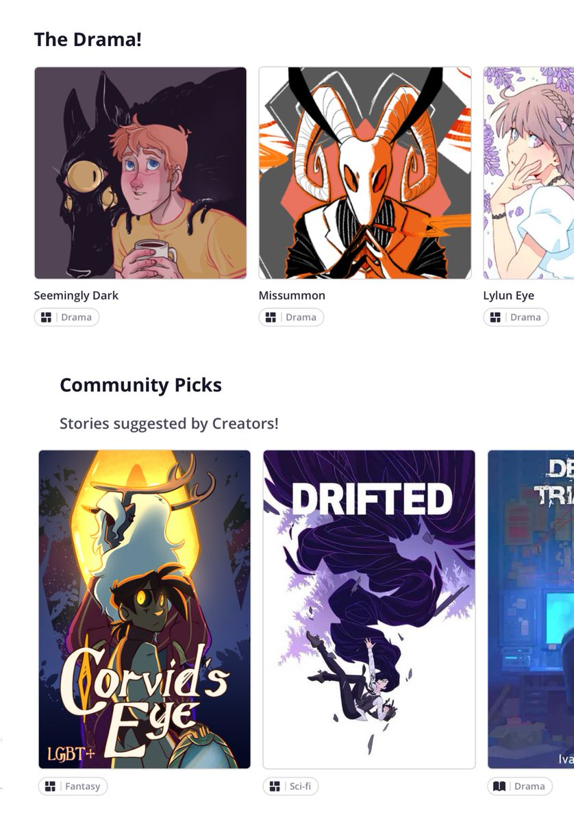 AYYY cool to see both Seemingly Dark and @HopeHjort 's Corvid's Eye on the @tapas_app front page at the same time !! Webcomic Besties 🖤