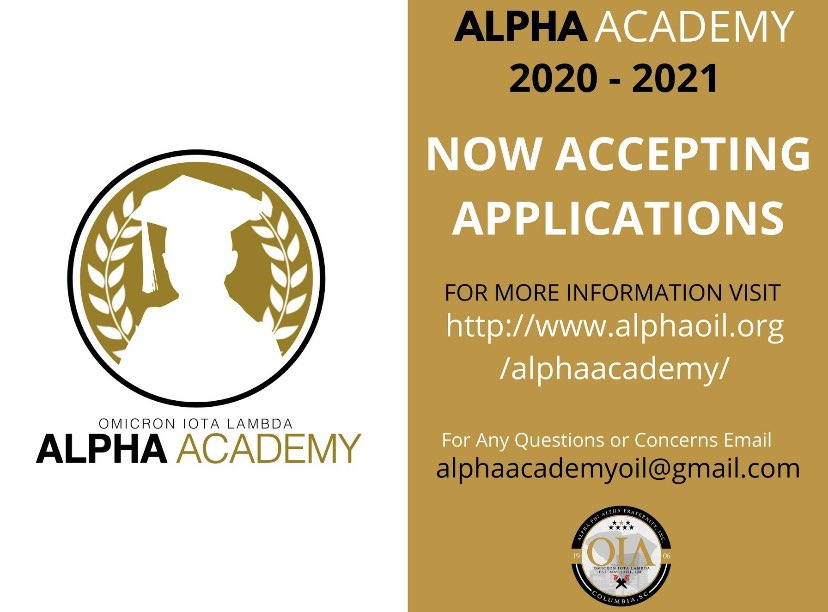 The Alpha Academy is currently accepting applications! For more information visit https://t.co/PdArVP5VOK #Mentoring #Scholarship #Service #ColumbiaAlphas #AlphaOIL #AlphaAcademy @JTemoney @RedhawkJackson1 @TerrenceLHarris @MrRoss_RVHS https://t.co/yrdgZO4LU3