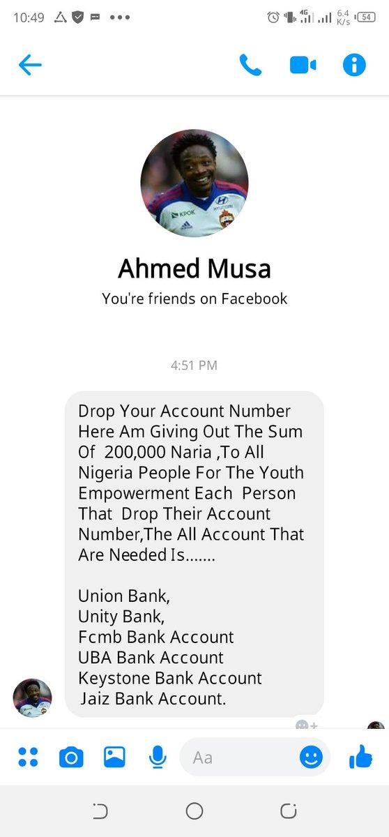 @Ahmedmusa718  wani Dan 419 yake turawa mutane a Facebook  na tabbatar bakai bane