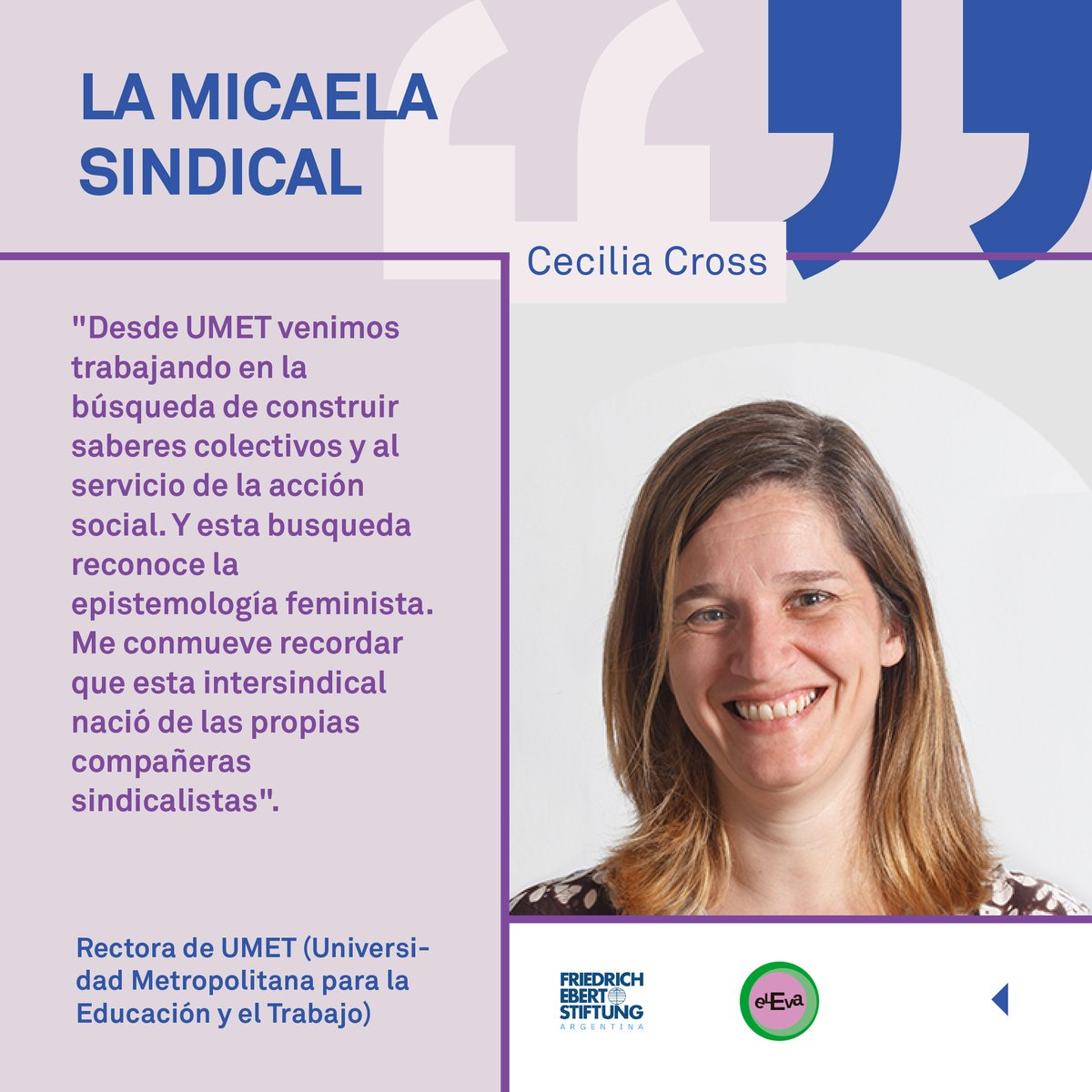 💪💜 Desde @argentina_fes trabajamos junto con @ElEvaok para incorporar la perspectiva de género en los sindicatos. #LeyMicaela  💬 @crosscecilia, rectora de @UMETeduar, en #LaMicaelaSindical.  ▶️ Conversatorio completo en: https://t.co/WrQ3bWvLRi https://t.co/kCHRDpRvAJ
