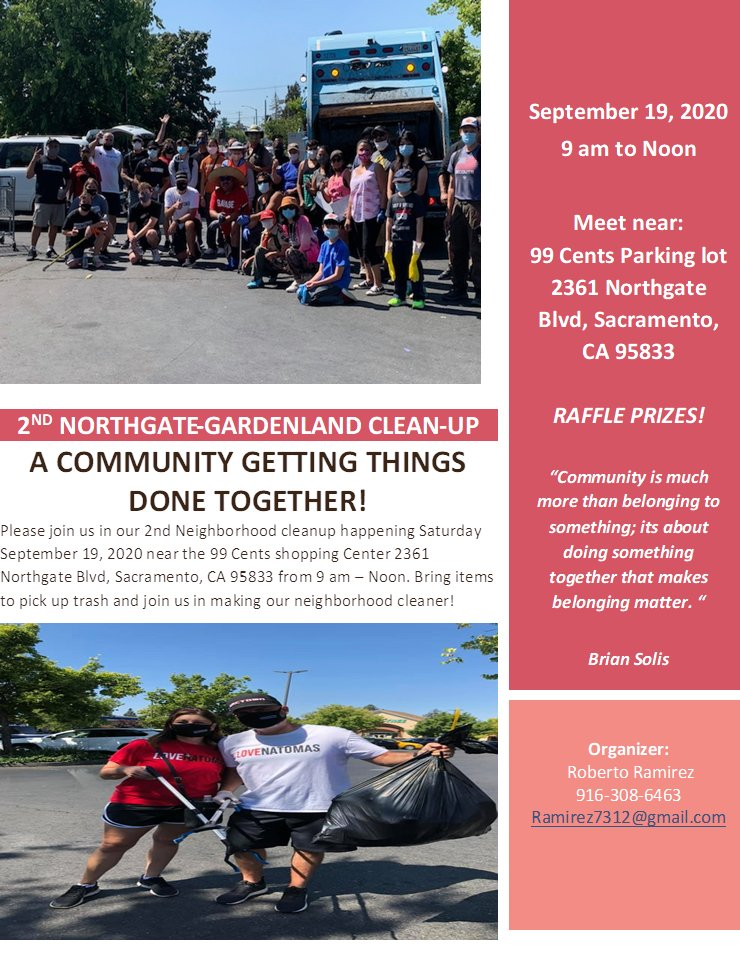 REMINDER! There will be a community cleanup tomorrow in the Northgate area of Natomas. See flyer for details. #NatomasCares #lovenatomas  @Jeff4sac @stanfordcenter https://t.co/NRoQjElcFm