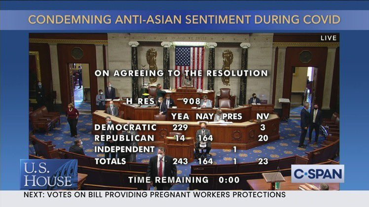 """I'm not even trying to be political, but a super simple bill to condemn anti-Asian racism related to COVID was passed, but ALL the NOs were Republican. These ppl WANT to see us blamed, & to keep saying slurs. No effort to unify nor protect us. This is """"our"""" govt?? Unbelievable. https://t.co/OP5VKqEfZt"""