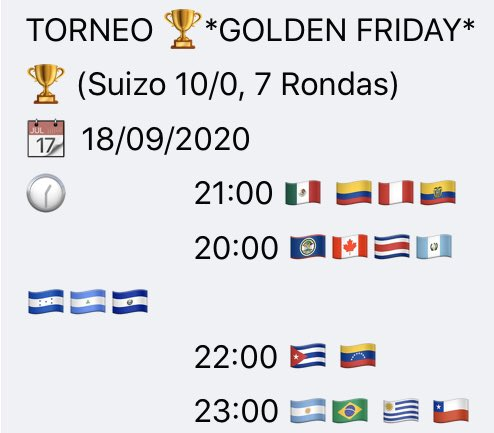 Estimado Ajedrecista, únete al torneo de hoy: Golden Friday https://t.co/M4jwhUwtT7  . #cuba #colombia #peru #Venezuela #ecuador #mexico #VivaMexico #argentina #EUA #Venezuela #PuertoRico #fide #EstadosUnidos #chesstournament #chess24 #Guatemala #Honduras https://t.co/j9Vt6ypQ5o