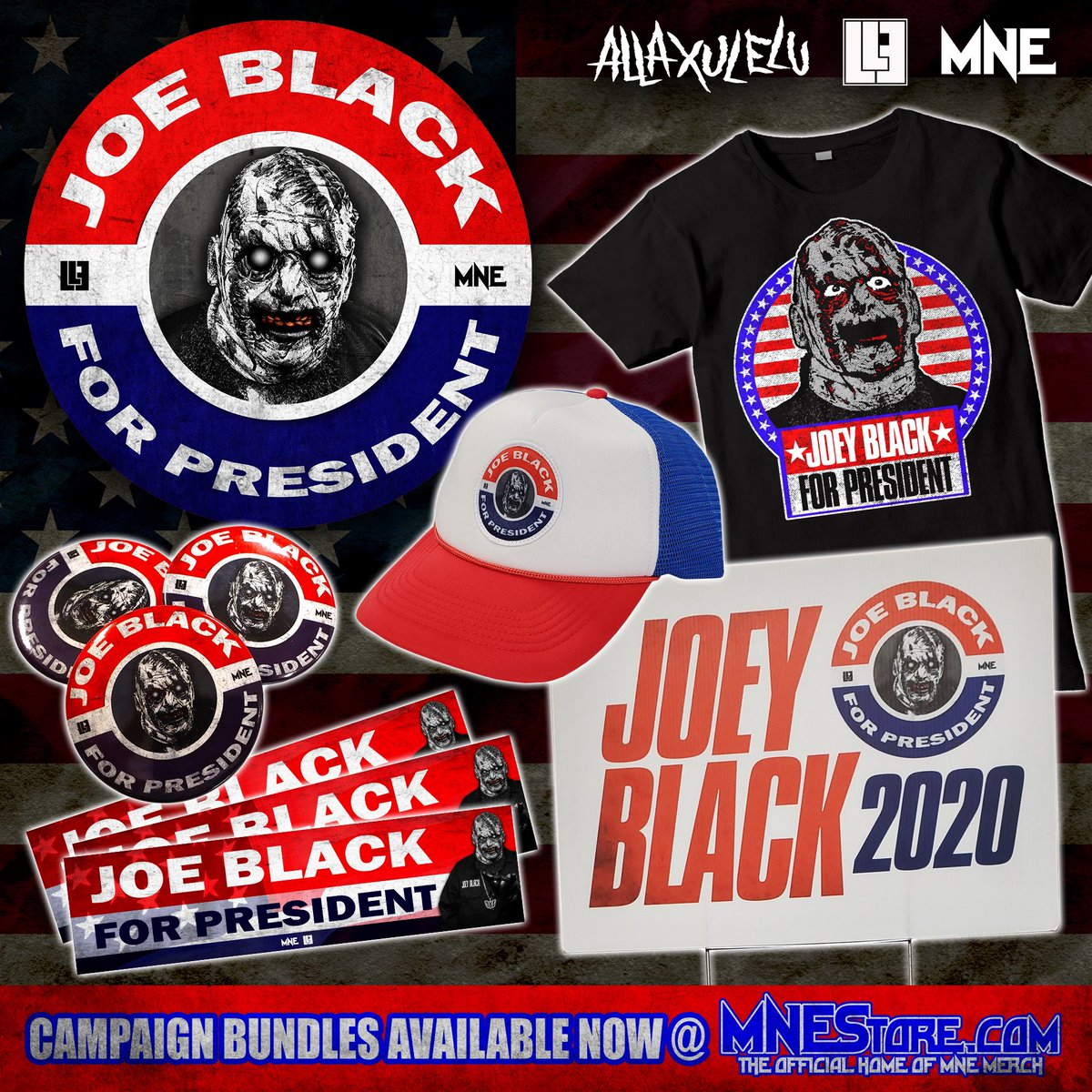 Vote #joeblack for #president campaign bundles are now available @twiztidshop (https://t.co/WeqdfBKfMM) 💀 Support Joe on this most important venture!!! #majikninjaentertainment #allaxulelu #axe #mne2020 #underground https://t.co/XKNlObDTOb