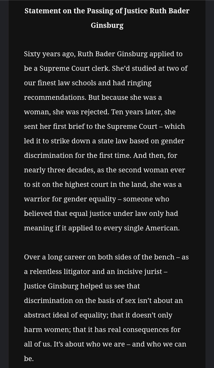 Statement just in from Barack Obama in the death of Ruth Bader Ginsburg
