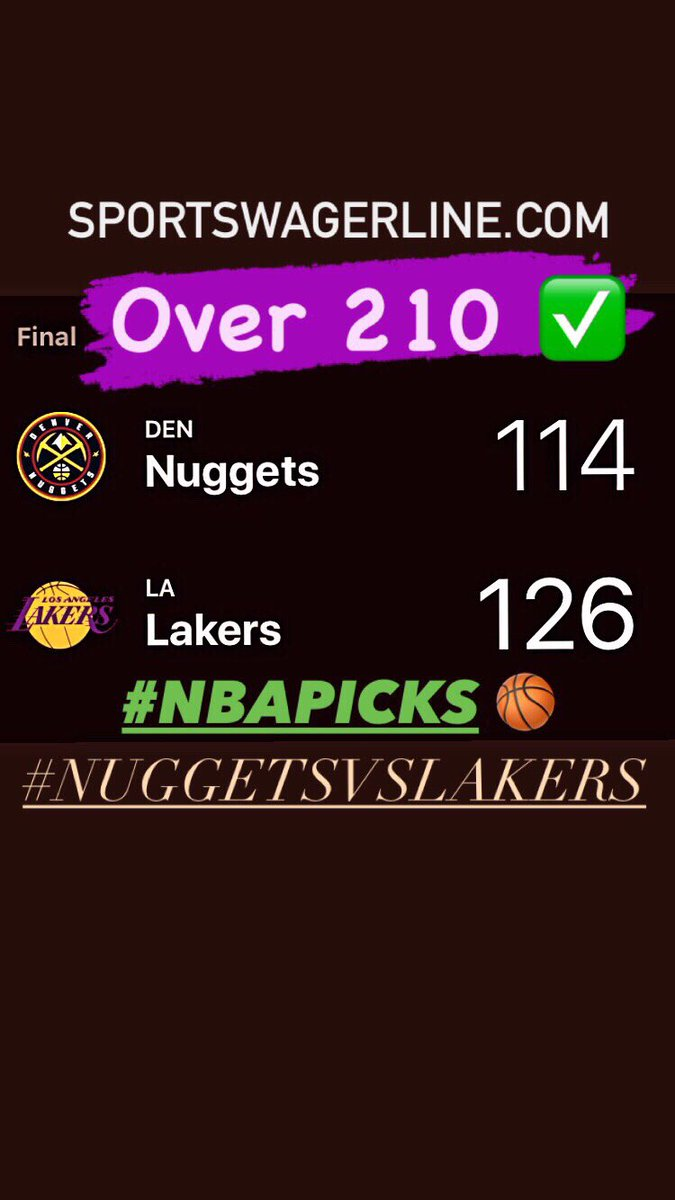 #NBA PLAYOFFS WINNER! #NUGGETSVSLAKERS OVER 210✅ EASY FOR CLIENTS ON OUR CARD TONIGHT. #LEBRON  #LALAKERS #SPORTSBIZ  #NBATwitter https://t.co/s9yhk3Fg8Z