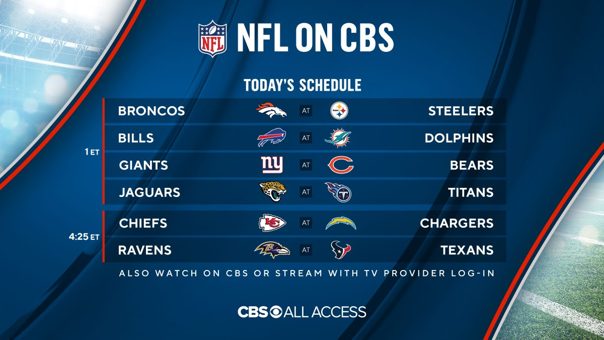 🏈 Get ready for Week 2 of @NFLonCBS action TODAY. Stream your local game live with @CBSAllAccess. Try 1 week FREE: bit.ly/2FyCeJM