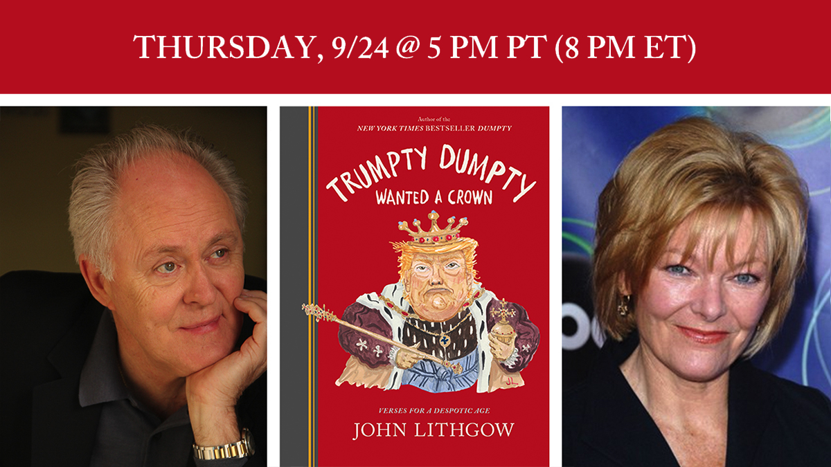 On 9/24, @Bookshop_org and @WritersBlocLA are hosting a virtual launch event for #TrumptyDumpty featuring me and Jane Curtin + the premiere of a very special video project I'm working on with some of the great names in acting! Learn how to tune in here: https://t.co/zbTUO1SB0j https://t.co/ihkVmIxV6W