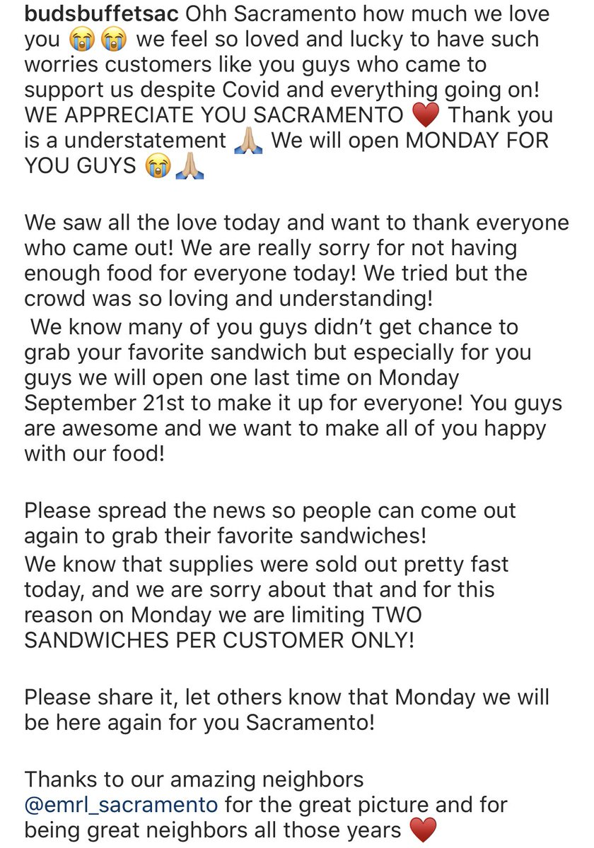 ⚠️ Because the community showed so much love today, @Budsbuffet1 will be open for one more day on Monday, September 21. Limit 2 sandwiches per customer. #SupportLocal https://t.co/6917oikawx