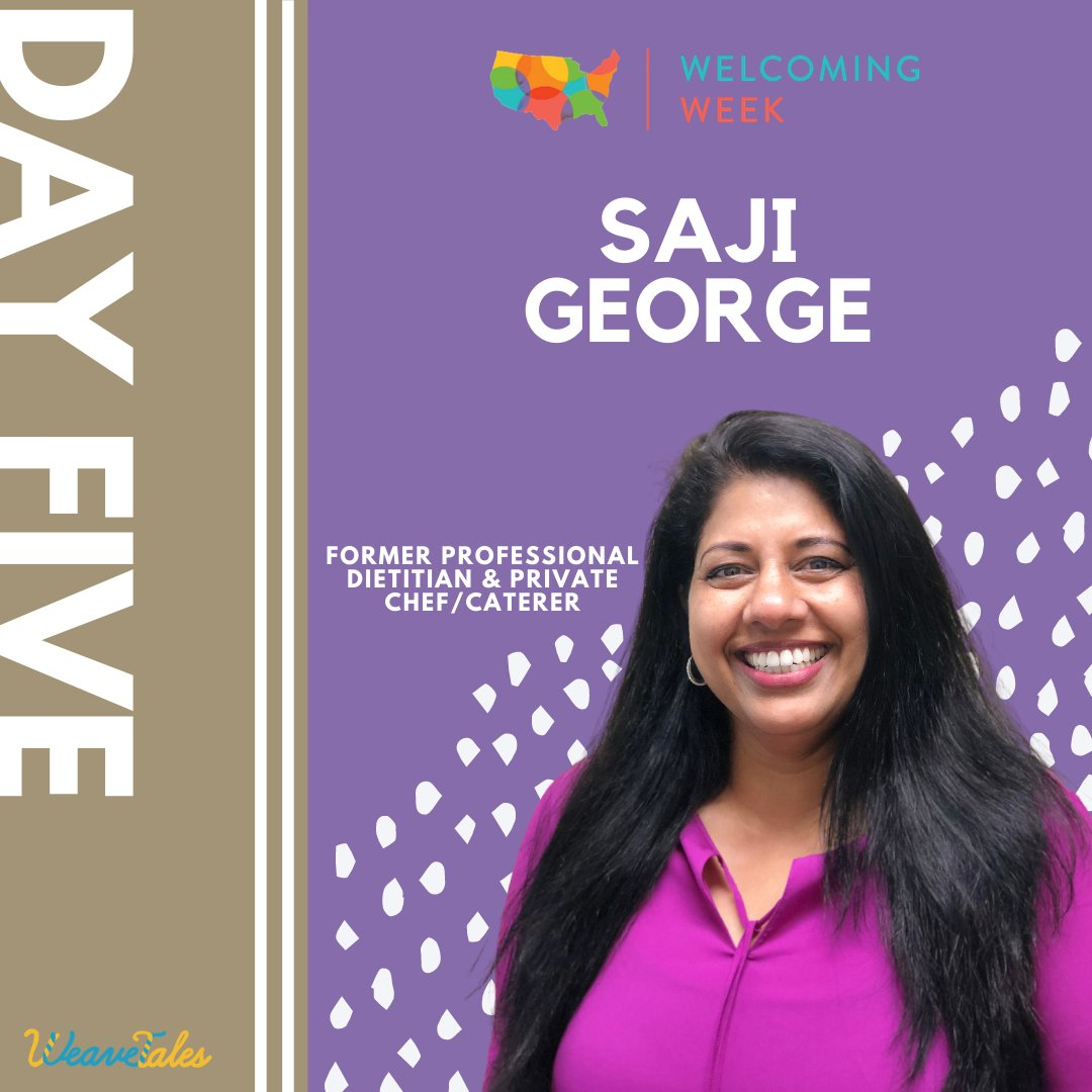 It's Day 5 of #WelcomingWeek and we're thrilled to showcase Saji George, a former professional dietician & private chef/caterer!  🍽To learn more about Chef Saji's story & how to make Chicken Biryani, visit: https://t.co/6ssu2l2rED  #storytelling #weavetales #CreatingHomeTogether https://t.co/0OfBoqVG8k