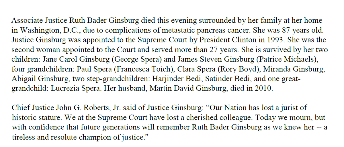 Ginsburg, 87, died due to complications of pancreatic cancer