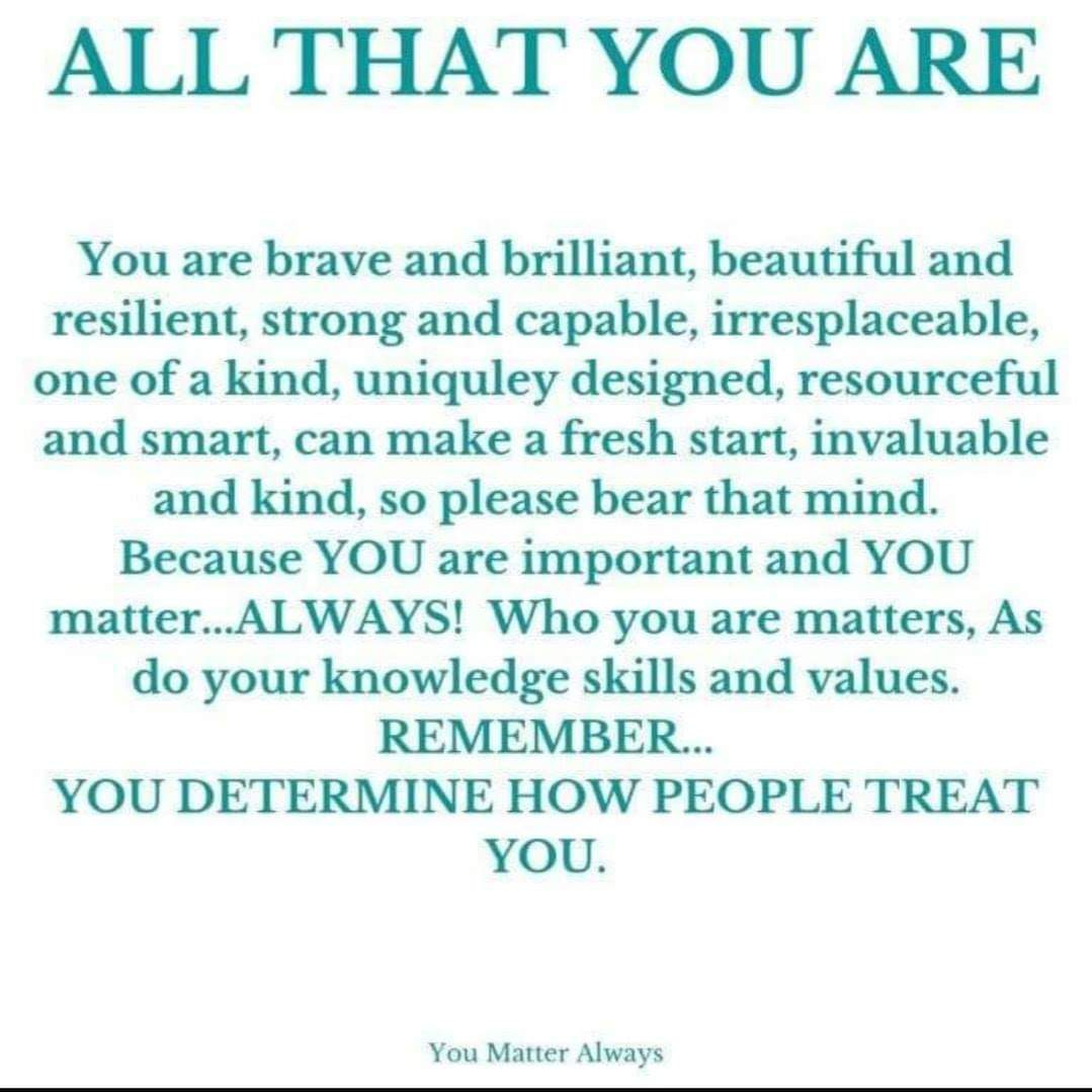 Some reminders are worth repeating 💜💜💜 #YouMatterAlways #youareimportantandyoumatter #yourthoughtsmatter #yourfeelingsmatter #yourvoicematters #yourstorymatters #yourlifematters #always #AllThatYouAre https://t.co/Qf6QhNLK5b